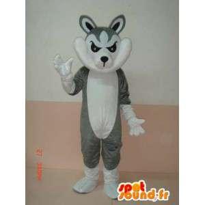 γκρι και λευκό μασκότ λύκος με αξεσουάρ - Κοστούμια Κόμμα