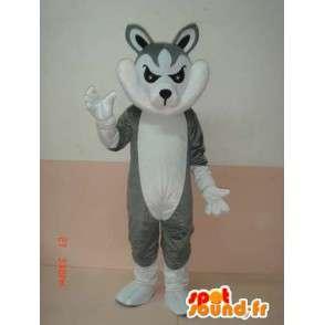γκρι και λευκό μασκότ λύκος με αξεσουάρ - Κοστούμια Κόμμα - MASFR00784 - Wolf Μασκότ