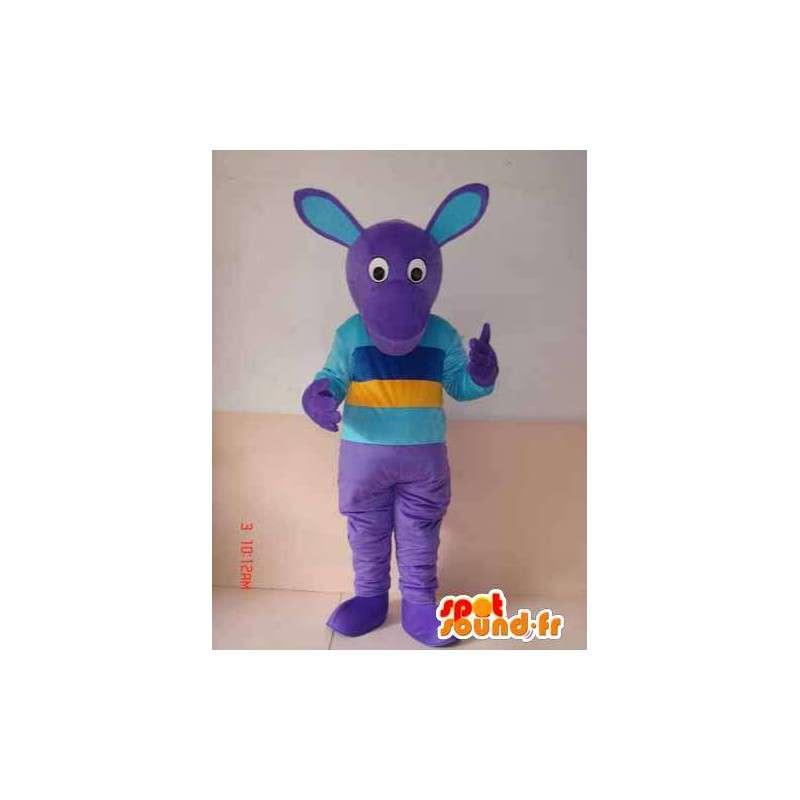 μωβ χαρακτήρα μασκότ με πουκάμισο πολύχρωμα - MASFR00785 - Μη ταξινομημένες Μασκότ