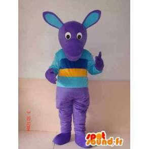 Mascotte de personnage violet avec t-shirt multicouleur - MASFR00785 - Mascottes non-classées