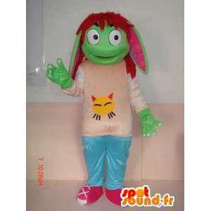 Green troll mascotte met kinderen accessoires - cartoon-stijl