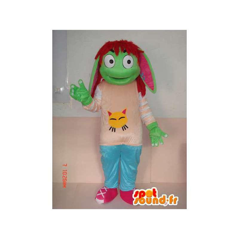 Green troll mascotte met kinderen accessoires - cartoon-stijl - MASFR00786 - mascottes Child