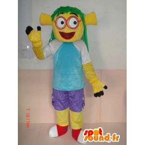 Mascot com trajes trolls amarelos e roupas - estilo cartoon