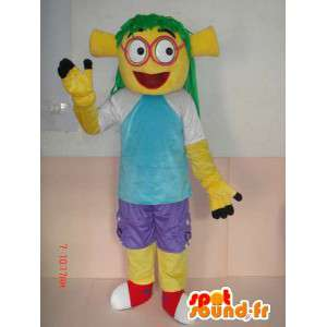 Mascot med gule troll kostymer og klær - tegneserie stil
