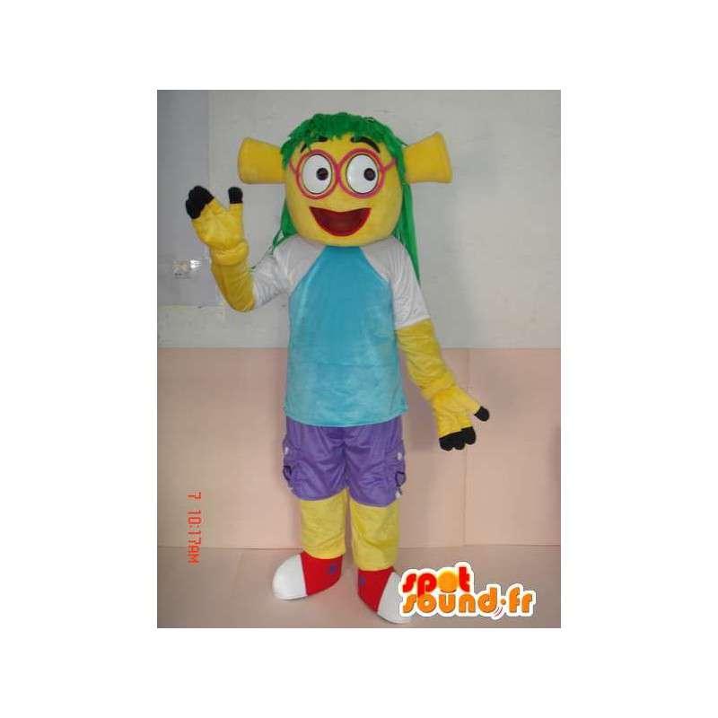 Mascot med gule troll kostymer og klær - tegneserie stil - MASFR00787 - Maskoter en Sesame Street Elmo
