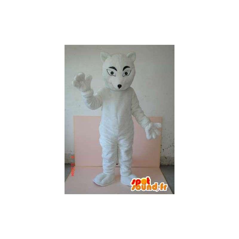 Mascot White Wolf huomaamaton kissan tyyliin. Wild Animal Costume - MASFR00788 - Wolf Maskotteja