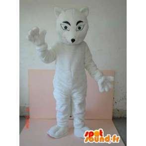Mascotte de loup blanc style félin discret. Costume animal sauvage - MASFR00788 - Mascottes Loup