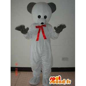 Costume d'ours blanc avec nœud papillon rouge et gants noirs