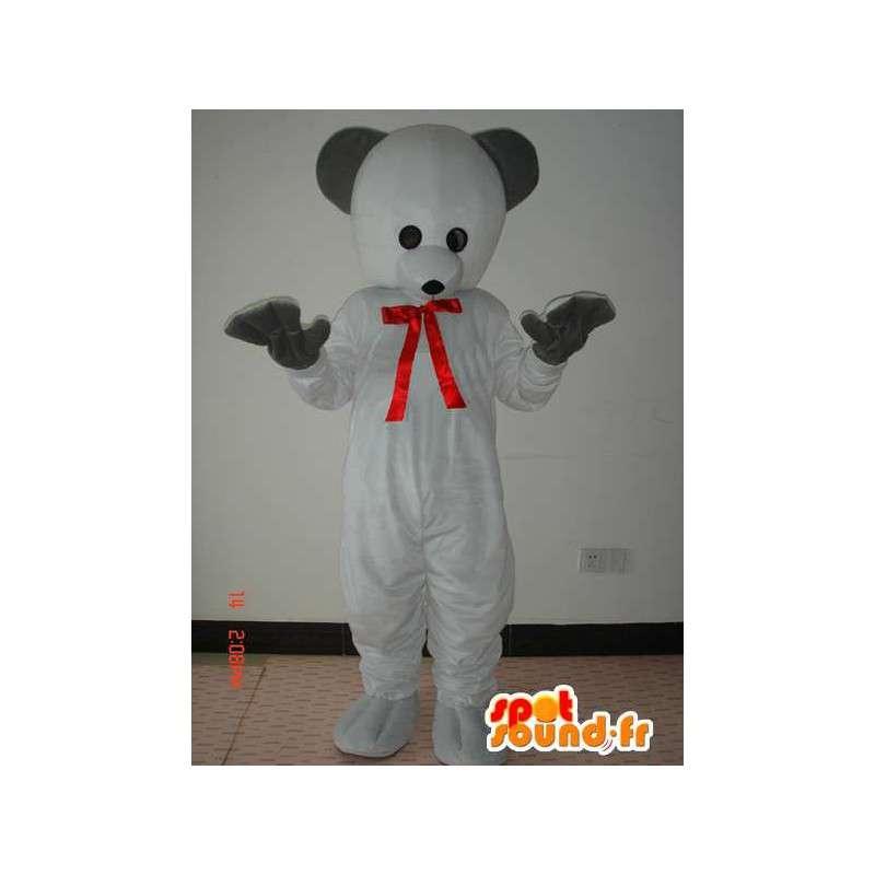 Polar Bear oblek s červeným motýlkem a černé rukavice - MASFR00789 - Bear Mascot