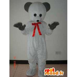 Orso bianco costume con cravattino e guanti neri rosso - MASFR00789 - Mascotte orso