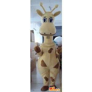Mascote girafa bege e marrom especial do savanna de África