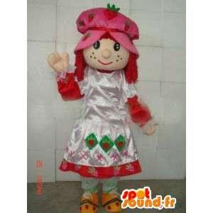 Mascot vestido de princesa campesina y el capó con encaje