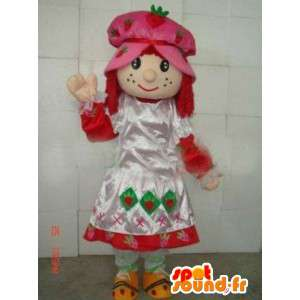 Mascotte princesse paysanne avec robe et bonnet en dentelle