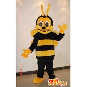 Maskot gul og brun bie med antenne - Beekeeping - MASFR00792 - Bee Mascot