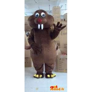 Gigante Beaver mascotte animale marrone scuro, con denti bianchi