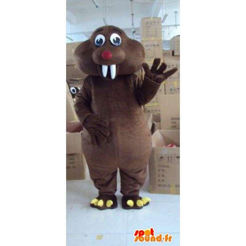 Mascotte animale Castor géant marron foncé avec dents blanches - MASFR00796 - Mascottes Animales