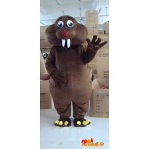 Giant Beaver mascot animal dark brown with white teeth - MASFR00796 - Animal mascots