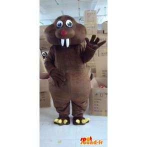 Gigante Beaver mascotte animale marrone scuro, con denti bianchi - MASFR00796 - Animali mascotte