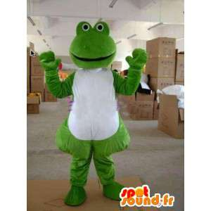 Mascotte grenouille verte typée monstre avec corps blanc