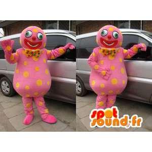 Mascota del muñeco de nieve de color rosa con lunares amarillos y pajarita