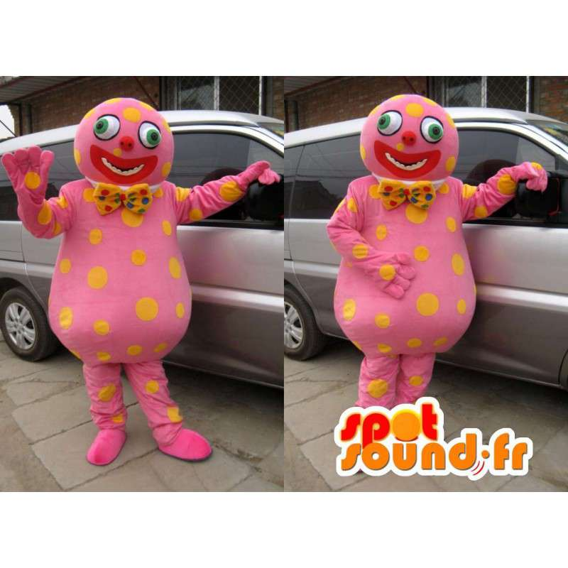 Schneemann-Maskottchen mit gelben Tupfen rosa und Fliege - MASFR00775 - Maskottchen Schmetterling