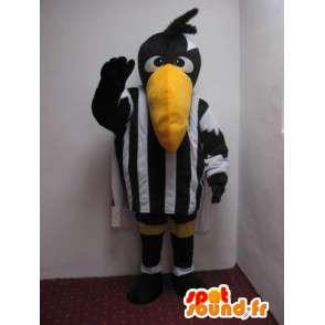 Pelican mascotte gestreepte zwart en wit - vogelkostuum scheidsrechter - MASFR00243 - Mascot vogels