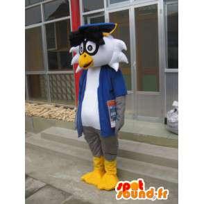 Professor Linux mascotte - Uccello con accessori - Trasporto veloce - MASFR00421 - Mascotte degli uccelli