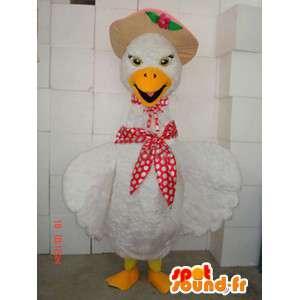 Maskotka kurczaka z szalikiem i kapeluszem - niska sąd Costume