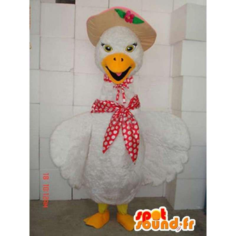 Maskotka kurczaka z szalikiem i kapeluszem - niska sąd Costume - MASFR00303 - animal Maskotki