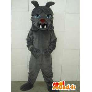 Bulldog hundmaskot - Klassisk grå houndstooth-kostym -