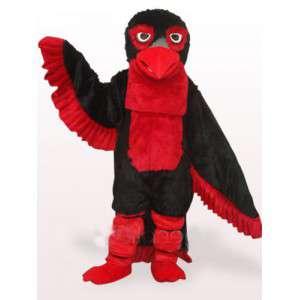 Costume de mascotte aigle rouge et noir et plumes style apache