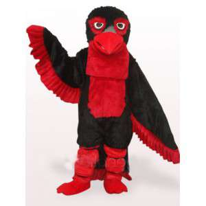 Mascotte kostuum rode en zwarte adelaar veren en Apache stijl