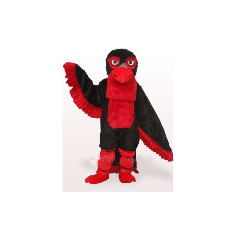 Eagle mascot costume red and black feathers apache style - MASFR00770 - Mascot of birds