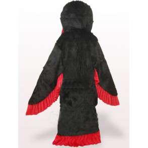 Costume de mascotte aigle rouge et noir et plumes style apache - MASFR00770 - Mascotte d'oiseaux