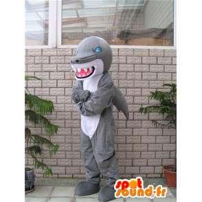 Maskot ošklivý dinosaurus žraločí šedá a bílá s modrýma očima - MASFR00640 - Dinosaur Maskot