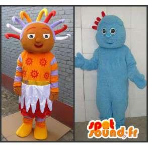 Coppia uomo e troll principessa di colore blu arancio afro - MASFR00706 - Umani mascotte
