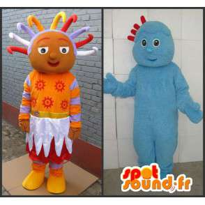 Schneemann-Paar blau Troll Prinzessin und orangefarbenen afro - MASFR00706 - Menschliche Maskottchen