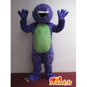 Mascotte Reptile sorriso viola e verde con denti belli - MASFR00626 - Serpente mascotte