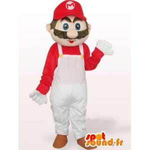Maskot hvid og rød Mario - berømt blikkenslager kostume -