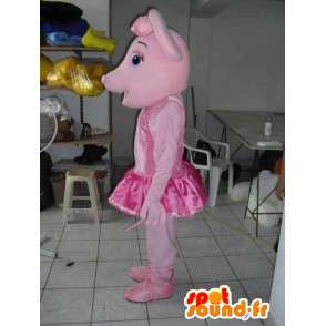 Pig mascot with pink tutu dancing as an accessory - MASFR00802 - Mascots pig