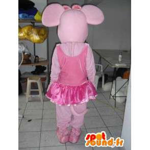 Vaaleanpunainen sika maskotti tanssien Tutu lisävarusteena - MASFR00802 - sika Maskotteja