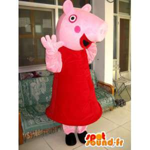Pink pig costume accessory with her red dress