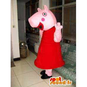 ροζ κοστούμι χοίρων με αξεσουάρ της στο κόκκινο φόρεμα - MASFR00804 - Γουρούνι Μασκότ