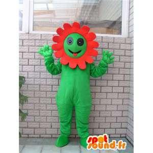 特別な赤い花の彼のハローと緑色植物のマスコット
