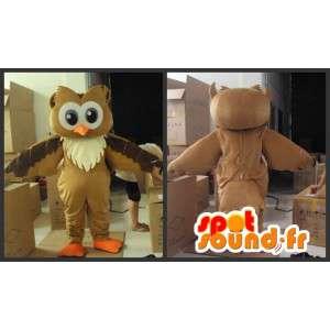 Mascotte de hibou marron et beige avec accessoires festifs