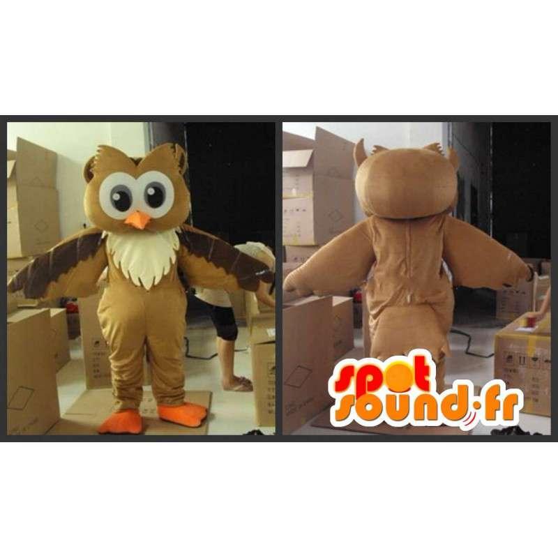 Mascotte de hibou marron et beige avec accessoires festifs - MASFR00809 - Mascotte d'oiseaux