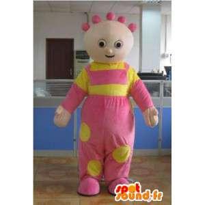 Mascotte bambina con la sua tunica rosa e giallo di festa