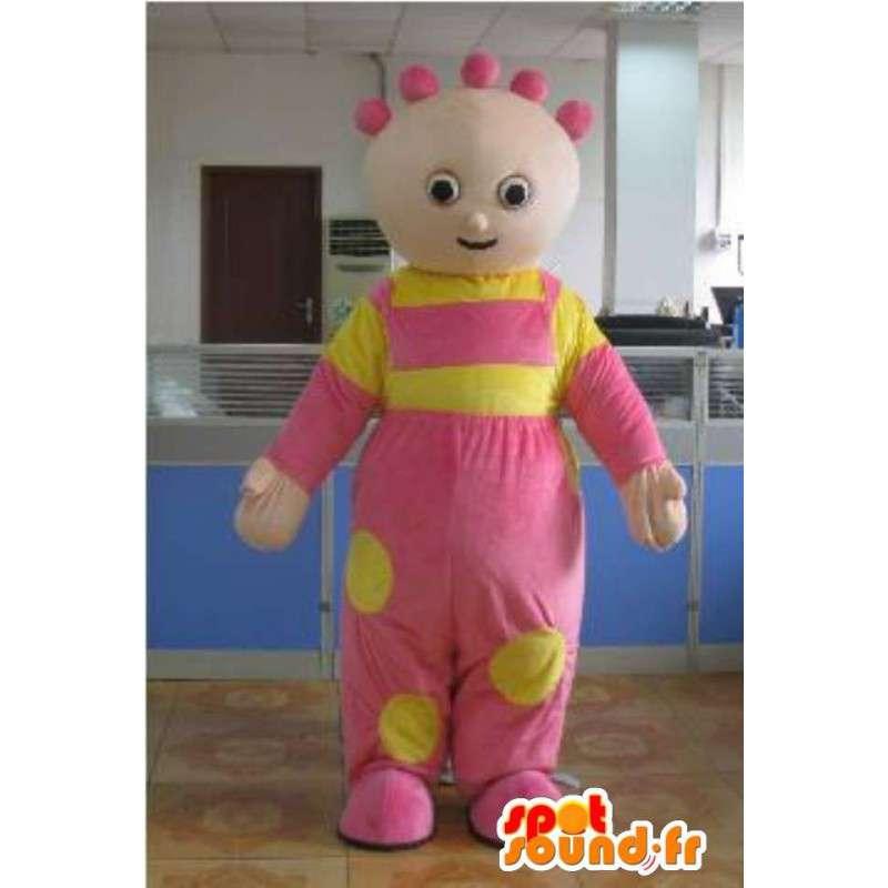 Mascotte de bébé fille avec sa tunique rose et jaune festive - MASFR00810 - Mascottes Bébé