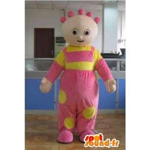 ピンクのコートとお祝いの黄色とマスコットの女の赤ちゃん - MASFR00810 - 赤ちゃんのマスコット