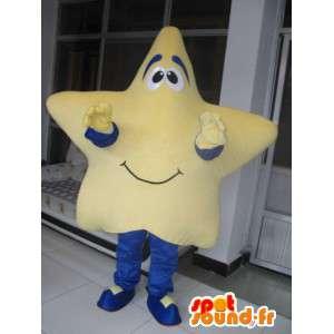 Mascot beige zeester met feestelijke blauwe broek